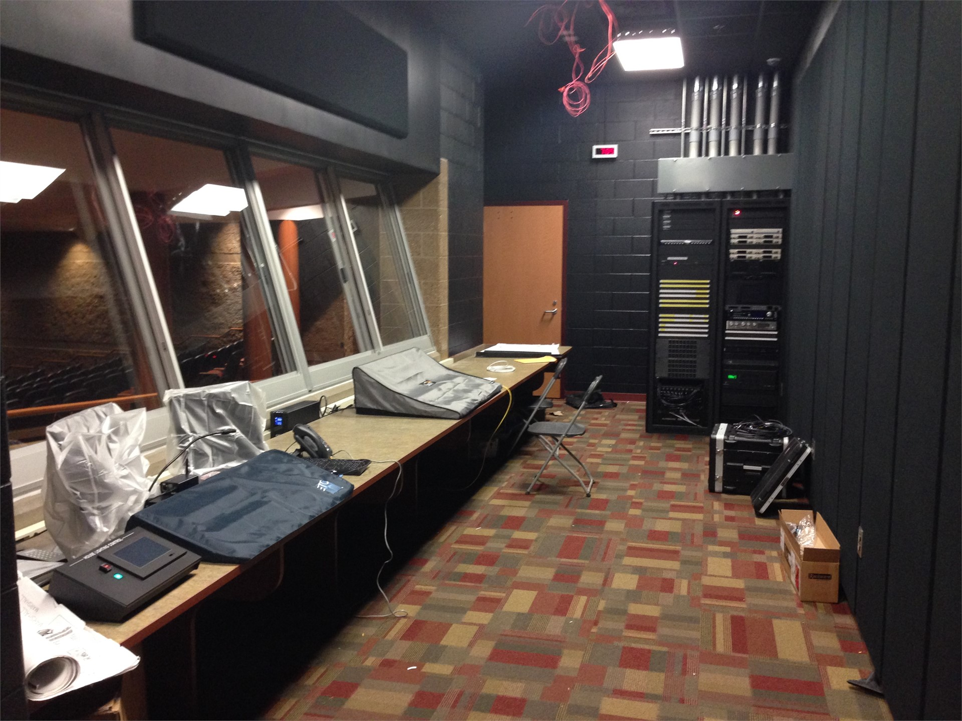 Picture of sound booth in new auditorium