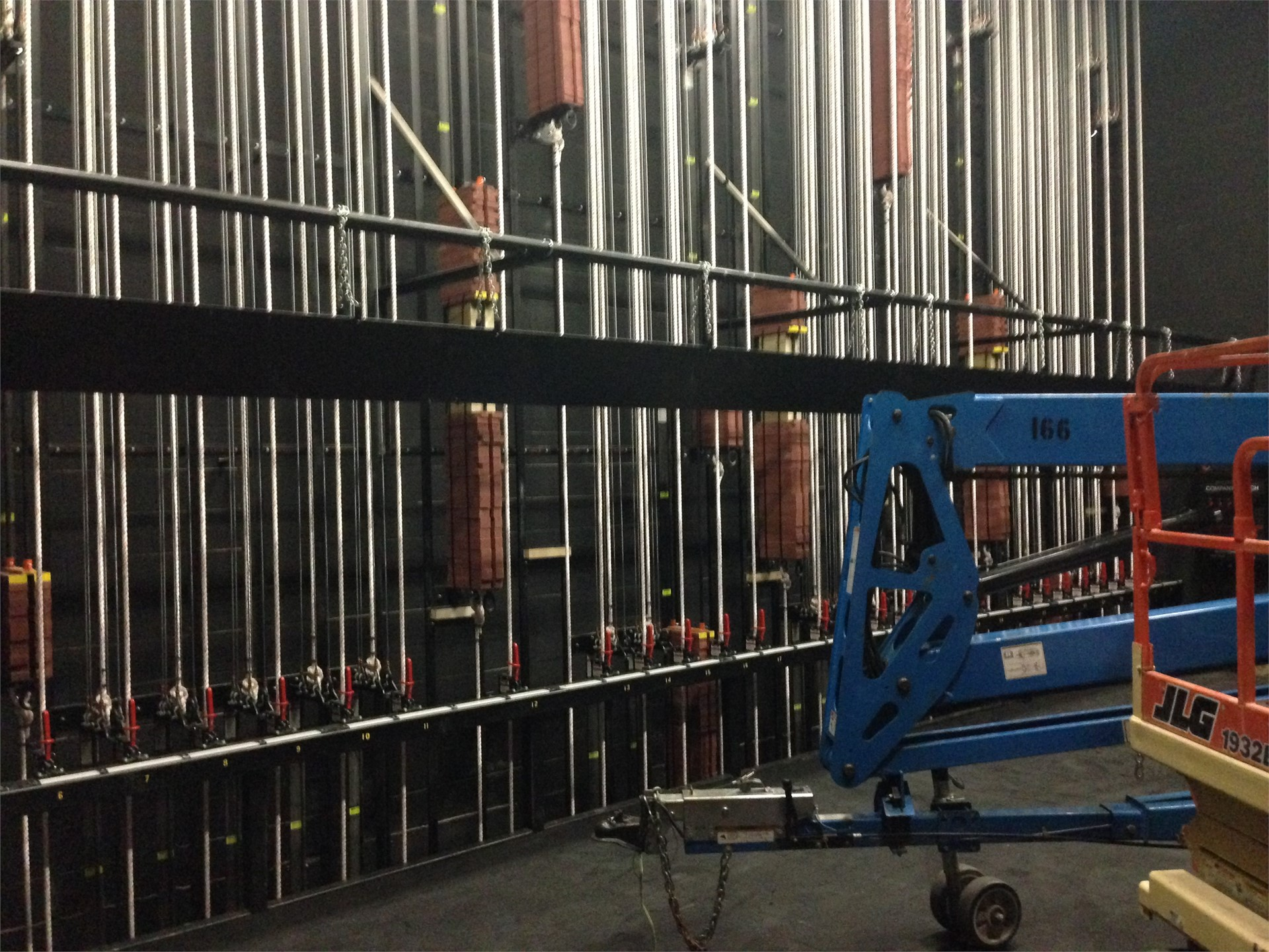 Picture of curtain weights in new auditorium