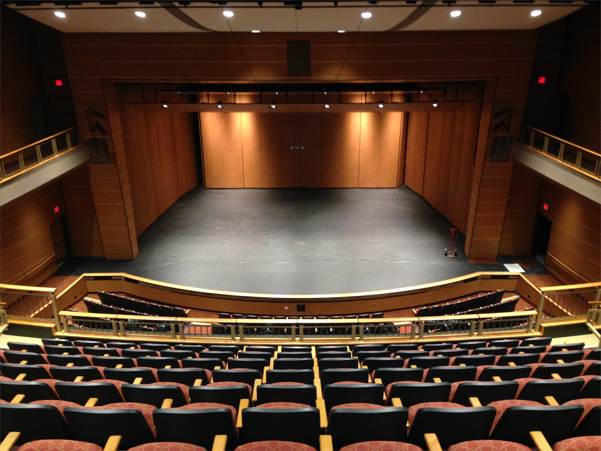 Picture of new auditorium stage from center of balcony