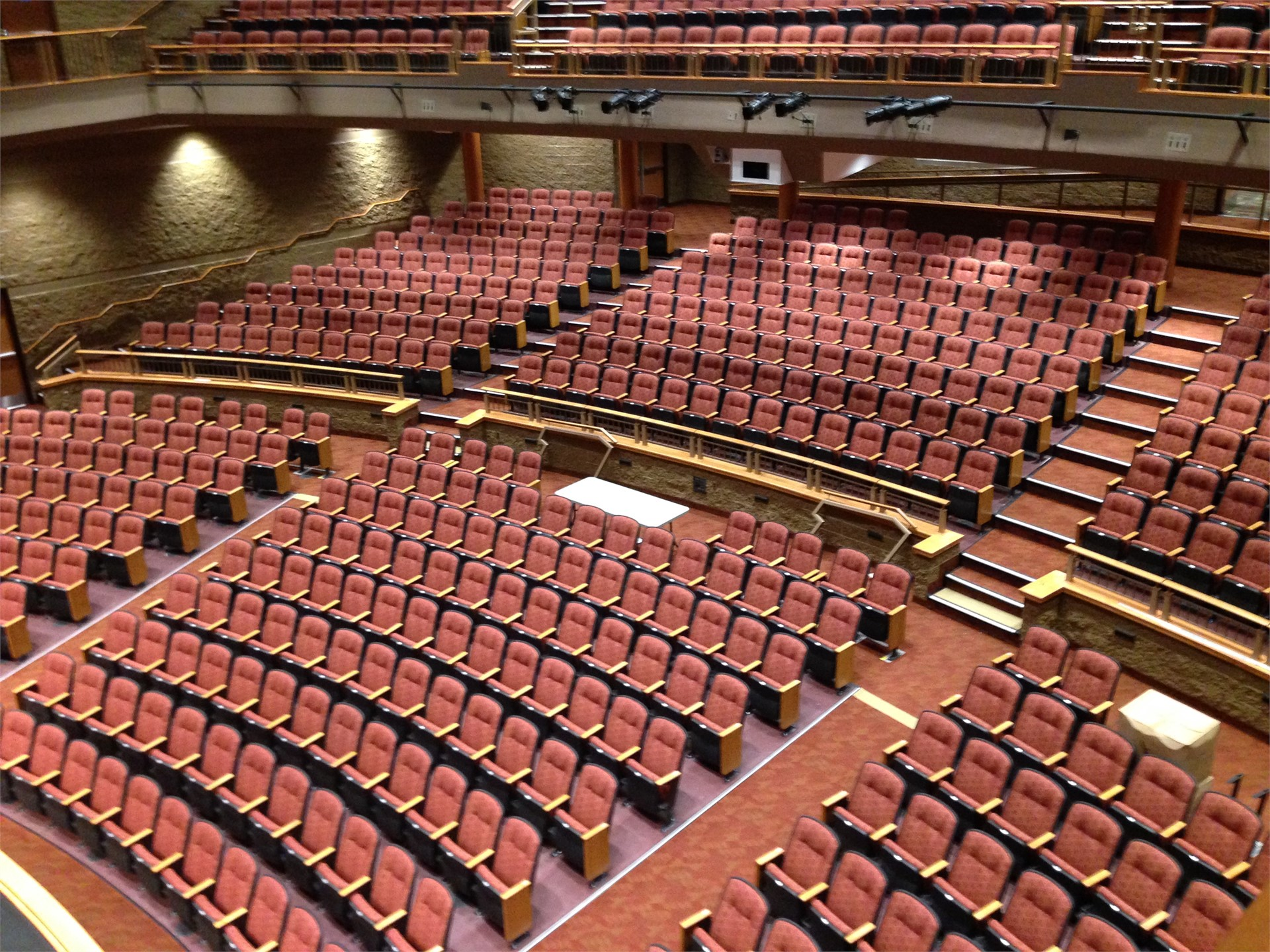 Picture of new auditorium seating from side balcony