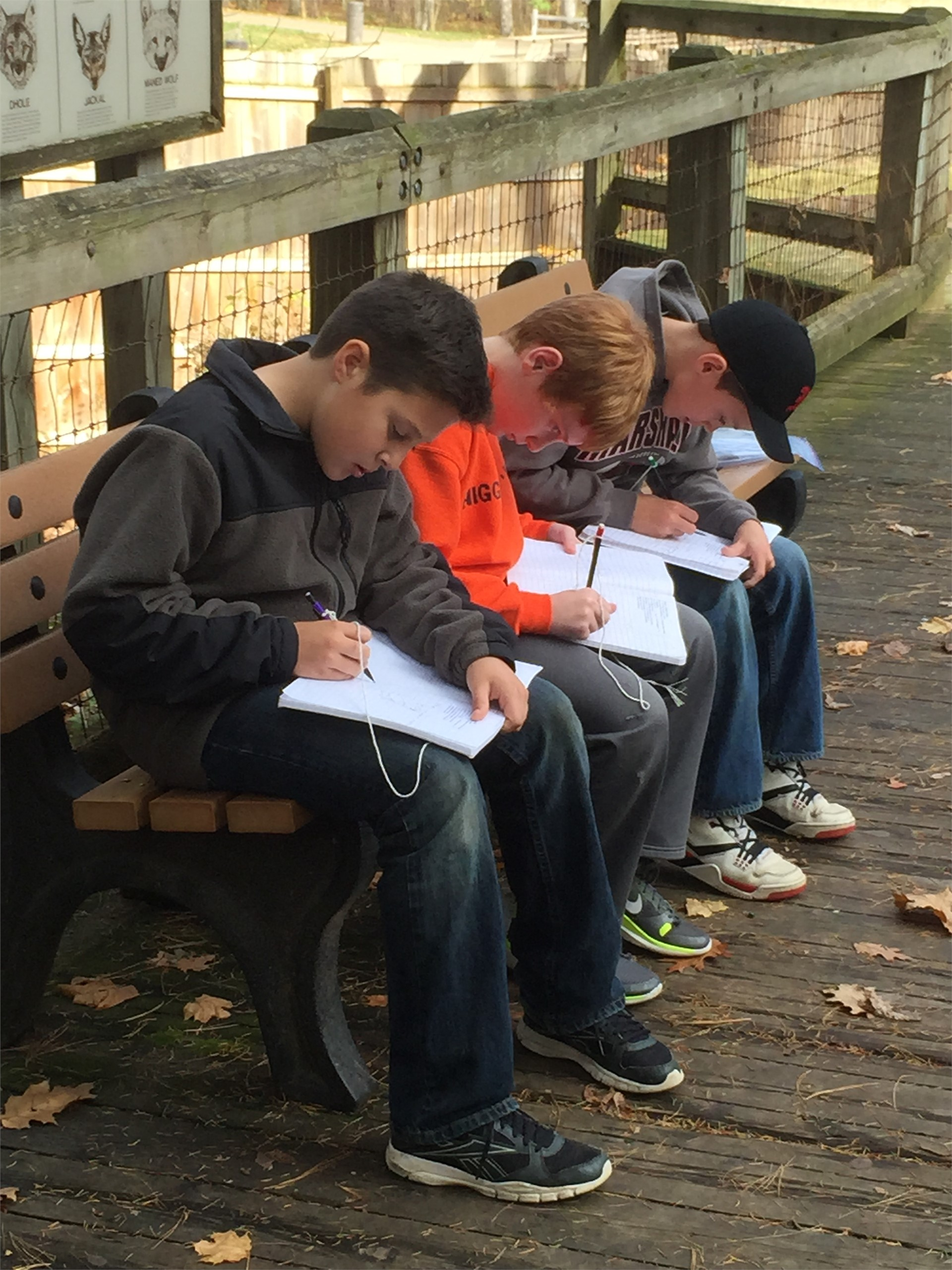 Students making notes during a lesson outdoors