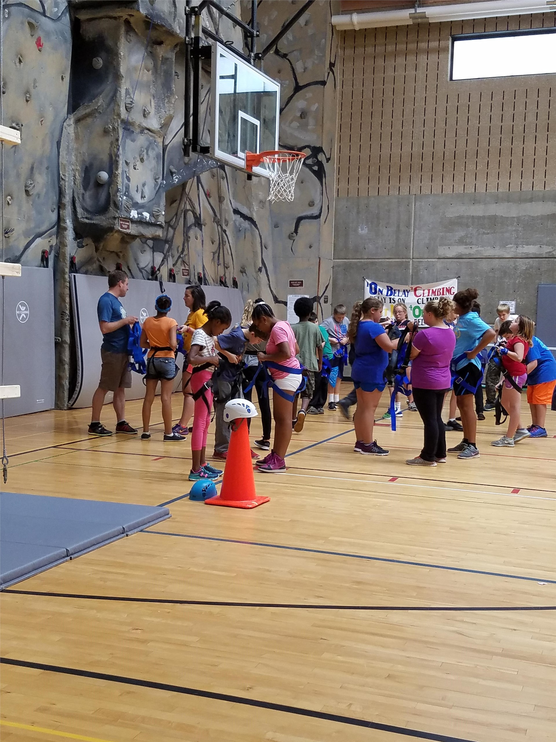 Students Gearing Up for the Rock Wall