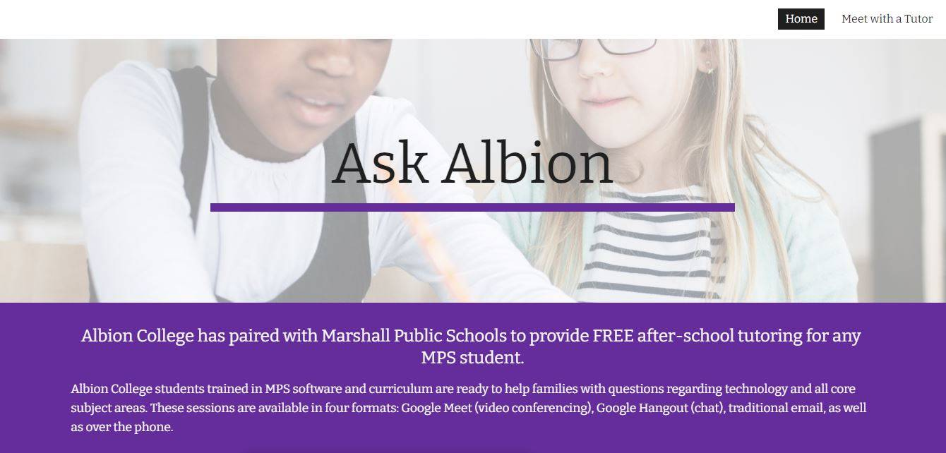 Tutoring support from Albion College